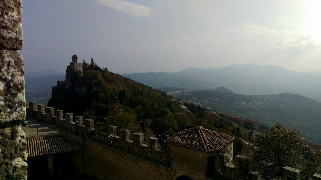 Views across to Fortress of Guaita