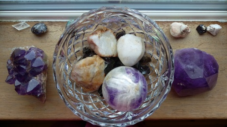 Waters being energised in amethyst, quartz and shungite